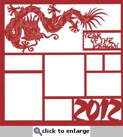 2012 Year Of The Dragon 12 x 12 Overlay Laser Die Cut