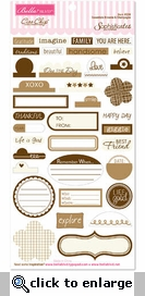 Sophisticates: Brownie & Champagne Ciao Chip Self-Adhesive Chipboard