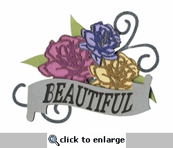 Beautiful Banner With Roses Laser Die Cut