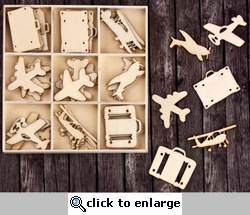 Travel Laser Cut Wood Icons In A Box Embellishments