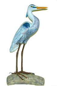 WOOD SCULPTURE: BLUE HERON<title> Wooden hand carved & hand painted bird collectible</title>