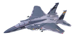 F - 15C Eagle, (USAF) Wood Airplane Model Gray Camou, Loaded.