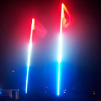 4' LED Safeglo Lighted Whip w Flag - R/W/B - FREE SHIPPING