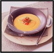 Chipotle Sweet Potato Soup With Bell Pepper-Bacon Salsa