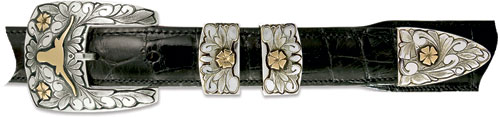 The Forty Acres Sterling Silver & 14kt Gold Buckle $875