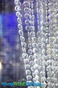 """Brilliant"" Non-Iridescent Diamond Faceted<BR><B> Beaded Curtains Columns & Chandeliers & Long Lengths</B>"