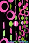 Hoops Pink N' Lime PVC Beaded Curtain - Transformers 3 & Featured on HGTV Design Stars!