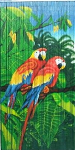 Parrot Couple Tropical Bamboo Painted Beaded Curtain