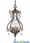 """Chateau"" Large Lantern Chandelier Antique Brown Jeweled 25"" x 14"""