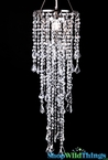 Chandelier Beaded Diamante Duo  Delight , Bright Silver Large Beads