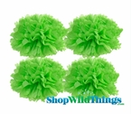 "Pom Poms 20"" Tissue Paper  - Light Lime - Set of 4"