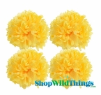 "Pom Poms 20"" Tissue Paper  - Yellow - Set of 4"