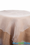 "Table Topper Sheer Organza 80"" Square Overlay - Ruffled Edge - Ivory"