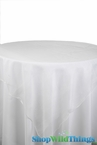 "Table Topper Sheer Organza 80"" Square Overlay- Ruffled Edge - White"