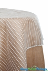 "Topper Sheer w/Fuzzy Stripes - Ivory 54"" Square"