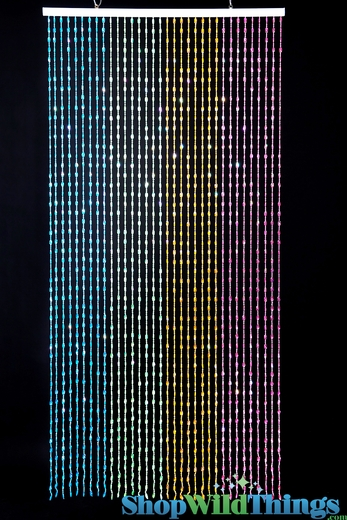Ice Pop Beaded Curtain - Pastels Iridescent - 3 ft x 6 ft