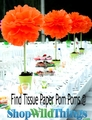 "Tissue Paper Pom Poms - 12"" to 20"" - Assorted Colors"