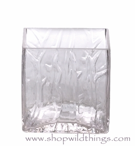 "Vase or Candle Holder - Ice Pattern Glass Cube - ""Aviana"" - 4"" x 4"" x 4"""