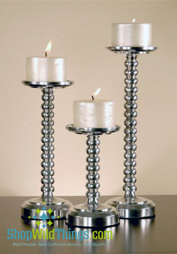 CLEARANCED Below our Cost!-Pillar Candle Holders - Silver Nickel  Bubbles  Set of 3