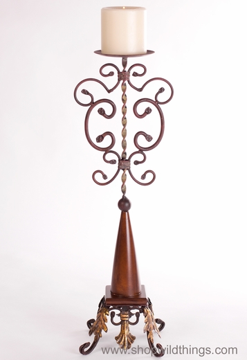 "Metal Tuscany Style ""Tower 1"" Metal Pillar Candle Holder 29"" Tall"