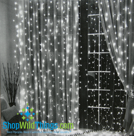 LED Light Curtain - 144 Crystal LED Lights, 6 ft Long (COOL WHITE)