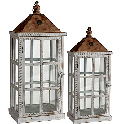 "CLEARANCE Candle Lanterns - Set of 2 (25"" tall & 19"" tall) Distressed Metal, Wood and Glass - ""Farmhouse"""