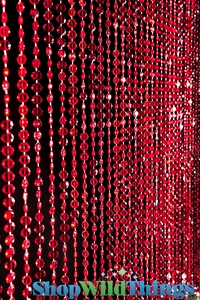 Diamonds Red Beaded Curtain