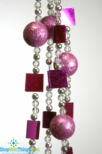 CLEARANCE - Garlands of Mirrors & Glitter Balls - Fuchsia / Pink  (set of 3)