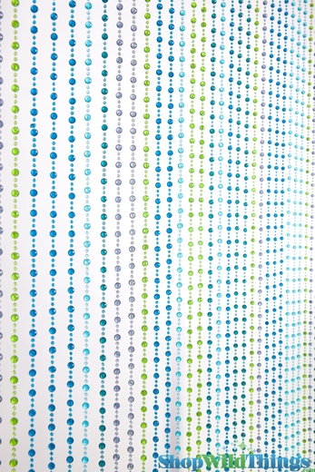 Mini Pop Beaded Curtain - Blues & Green - 3 ft x 6 ft