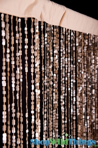 String Curtain Beige Bespangled Square Sequins 3' x 7.3' - Fire Treated Rayon