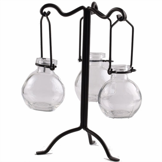 """Tripled Branches 9.5"""" Metal Stand for Hanging Candles & Bottles"""