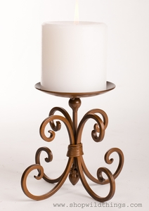 "CLEARANCE Copper/Brown Scroll Pillar Candle Holder 6.5"" Tall"