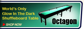 The World's Only Glow In The Dark Shuffleboard Table
