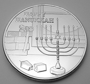 HAPPY HANUKKAH SILVER MEDALLION=