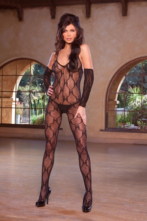 Bow Tie Lace Bodystocking * 1604Q