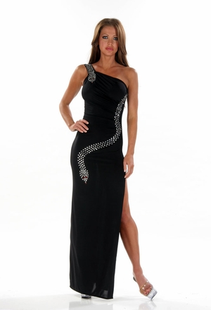 Stretch Rhinestones Gown * 4474