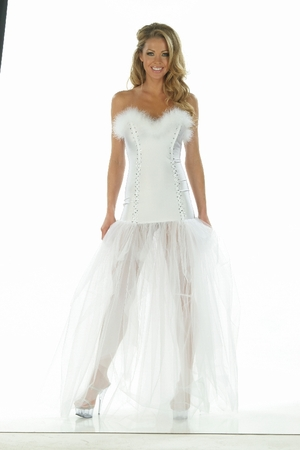 Lycra/Feathers/Tulle/Rhinestone Gown * 4858