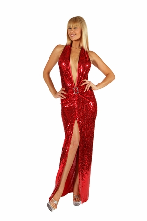 Stretch Sequined Gown * 5504