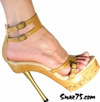 6� Metal Heel Wood/Cork Base Double Strap * W-522