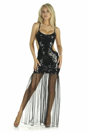 Sequin Mesh Gown * 5217