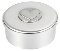 Woodbury Pewter Heart Round Box /lid / 3.5""