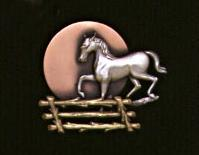 Spoontiques Tri-Color Horse & Fence Pin/Brooch