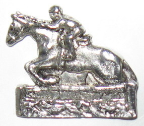 """Pin/Brooch  Horse and rider, Cast Pewter, 1 1/4"""" x 1 1/8"""""""