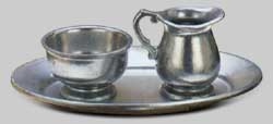 Pewtarex Sugar/Creamer/Tray Set, MATTE FINISH