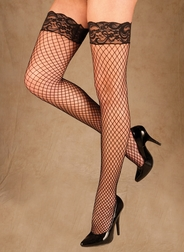 Lace Top Industrial Net Thigh High