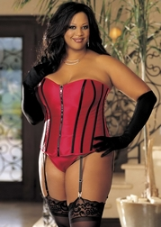 Extra Plus Size Satin Corset with Break Away Zipper Front