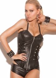 Sexy Eroticism Leather Zip Front Corset