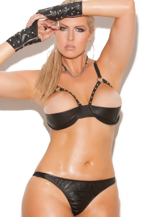 Open bust leather lingerie