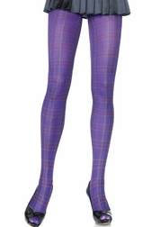 Paper Print Plaid Tights