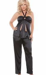 Plus Size Charmeuse Halter Cami Top And Pants